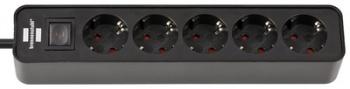 brennenstuhl Steckdosenleiste Ecolor mit Schalter (5-fach - 1,5m - schwarz)