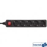 InLine Steckdosenleiste mit Schalter (5-fach - 1,5m - schwarz)